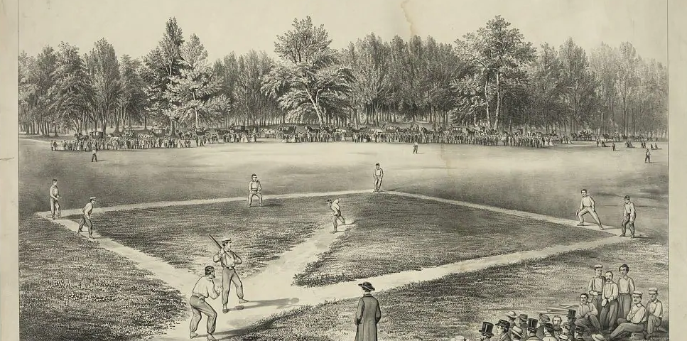 """The American National Game of Baseball, Grand Match at Elysian Fields,"" by Currier and Ives, 1866. From the Library of Congress."