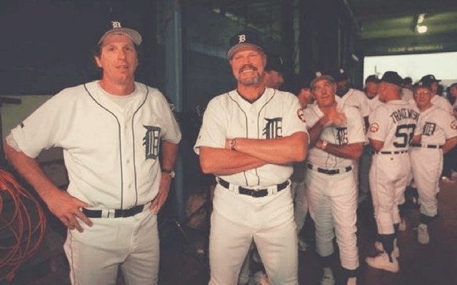 Mark Fidrych and Bill Freehan prepare to lead the queue of former Tigers preparing to take the field for the final game ceremony at Tiger Stadium