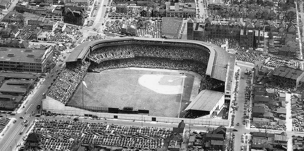 Aerial of Navin Field prior to its 1938 expansion (Detroit News photo)